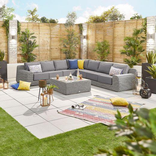 Luxor 1E Corner Sofa Set - White Wash