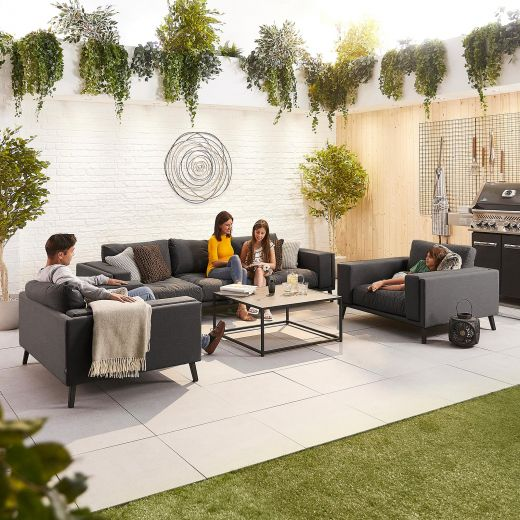 Infinity Outdoor Fabric 3 Seat Sofa Set - Dark Grey