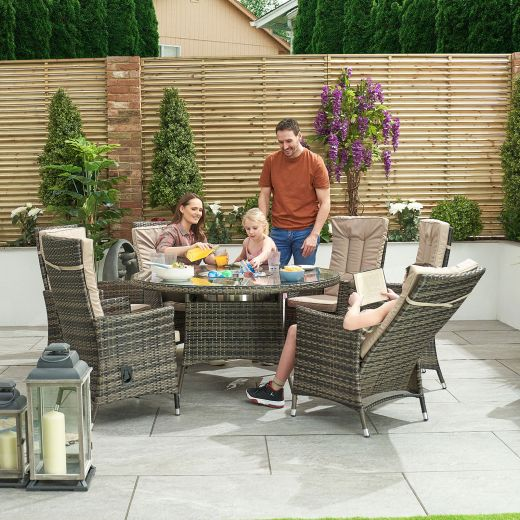Ruxley 6 Seat Dining Set - 1.35m Round Ice Bucket Table - Brown