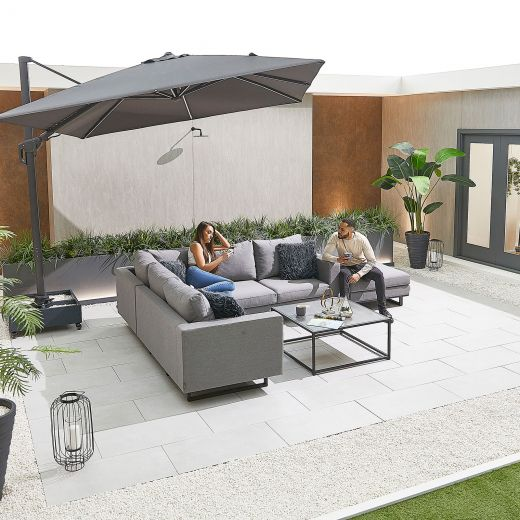 Eden Outdoor Fabric Corner Sofa Set with Coffee Table & Footstool - Light Grey