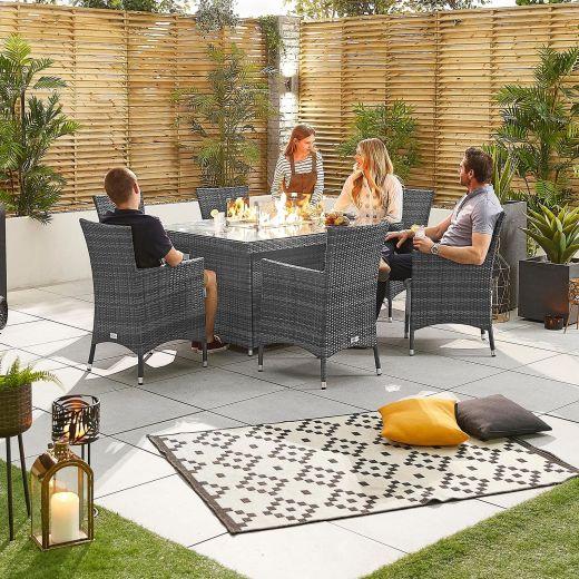 Amelia 6 Seat Dining Set - 1.5m x 1m Rectangular Firepit Table - Grey