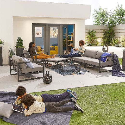 Alessandria Aluminium 3 Seat Sofa Set - Grey Frame