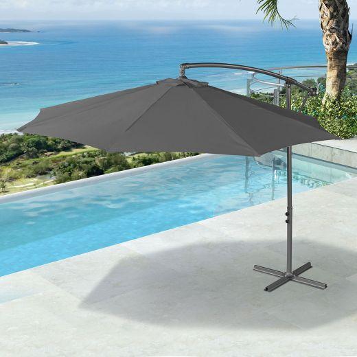 Barbados 3m Round Cantilever Parasol - Crank Operated - Grey