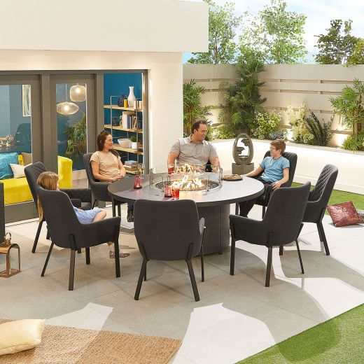 Genoa Outdoor Fabric 8 Seat Round Dining Set with Firepit Table - Dark Grey