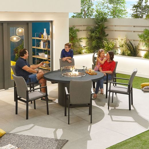 Hugo Outdoor Fabric 6 Seat Round Dining Set with Firepit - Light Grey