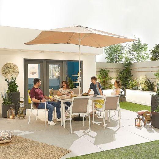 Milano 6 Seat Dining Set - 1.5m x 1m Rectangular Table - White Frame