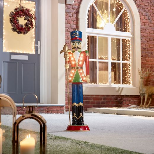 Norbert the 3ft Red Christmas Nutcracker with Staff