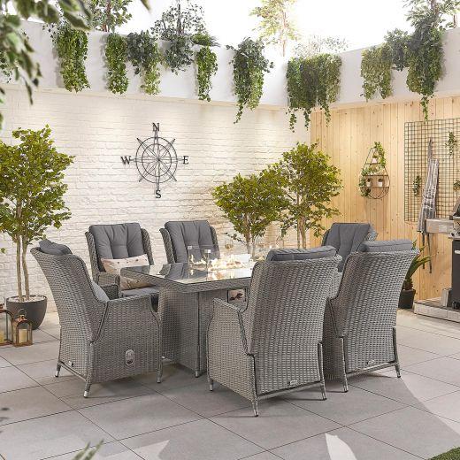 Carolina 6 Seat Dining Set - 1.5m x 1m Rectangular Firepit Table - White Wash