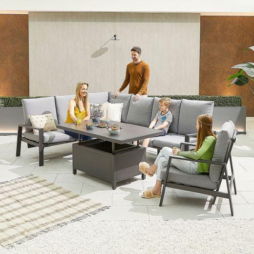 Enna Left Hand Aluminium Reclining Casual Dining Corner Sofa Set with Rising Table & Armchair - Grey Frame