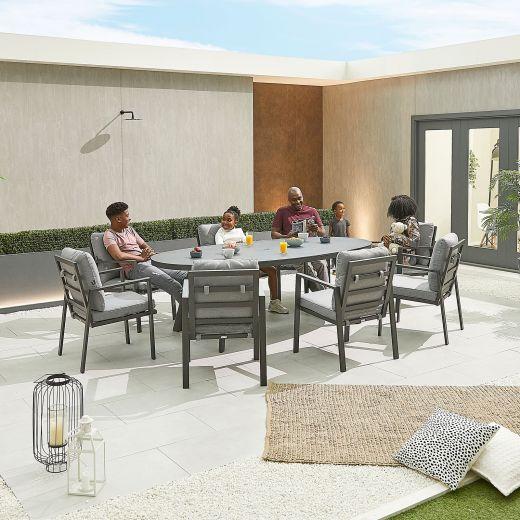 Enna 8 Seat Dining Set - 2.3m x 1.1m Oval Table - Grey Frame