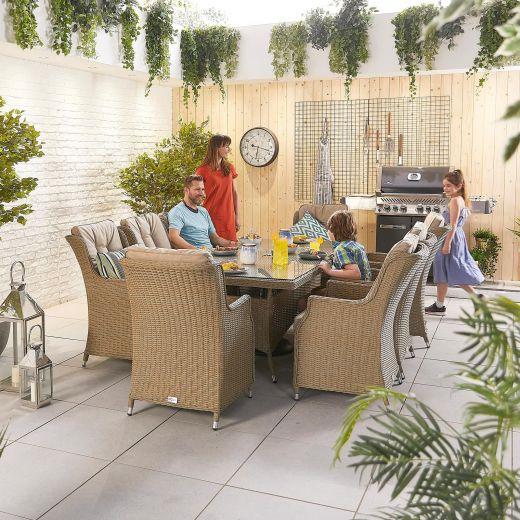 Thalia 8 Seat Dining Set - 2m x 1m Rectangular Table - Willow