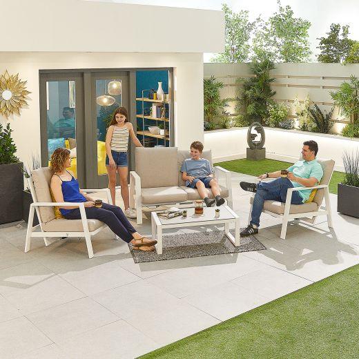 Enna Aluminium Reclining 2 Seat Sofa Set - White Frame