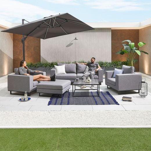 Eden Outdoor Fabric 2 Seater Sofa Set - Light Grey
