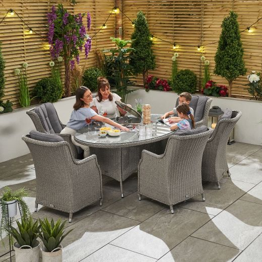 Thalia 6 Seat Dining Set - 1.8m x 1.2m Oval Ice Bucket Table - White Wash