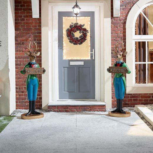 Pair of 5ft Alfred the Christmas Reindeer Figures