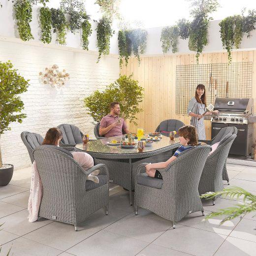 Leeanna 8 Seat Dining Set - 2.3m x 1.2m Oval Table - Slate Grey