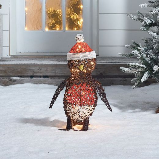 Rob the 50cm Rattan Christmas Robin - Battery Operated