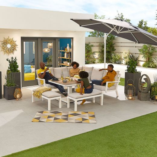 Compact Vogue Aluminium Casual Dining Corner Sofa Set with Rising Table & Benches - White Frame