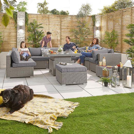 Chelsea 3B Rattan Corner Sofa Set with Rising Table - White Wash