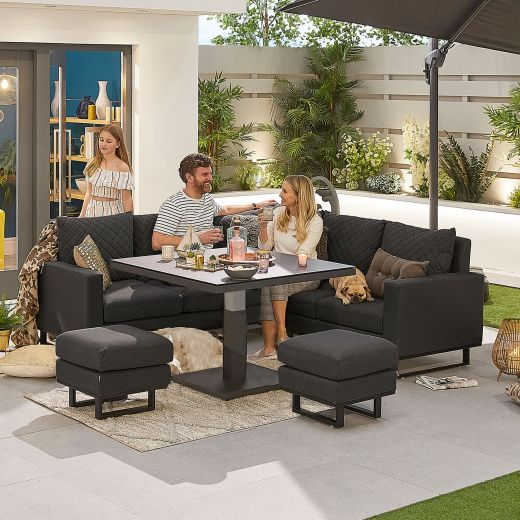 Compact Eclipse Outdoor Fabric Casual Dining Set with Stools and Rising Table - Dark Grey