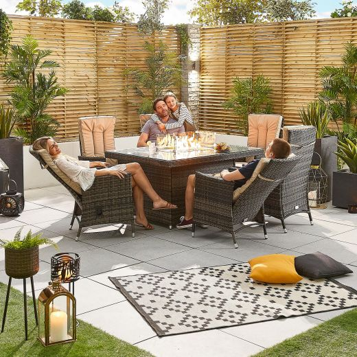 Ruxley 6 Seat Rattan Dining Set - 1.5m x 1m Rectangular Firepit Table - Brown