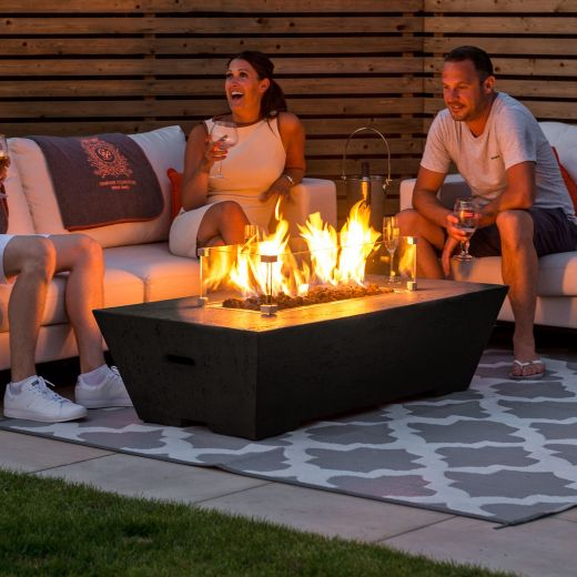Fireglow Gladstone Rectangular Gas Firepit Coffee Table with Wind Guard - Coffee