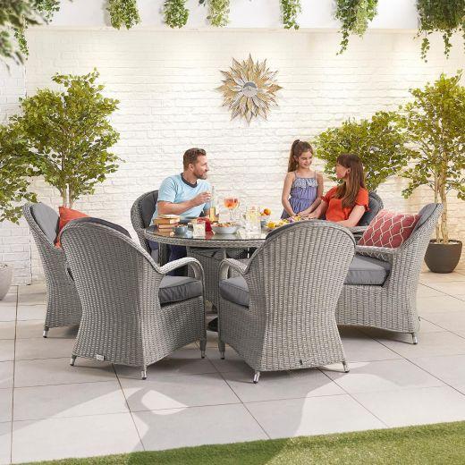 Leeanna 6 Seat Dining Set - 1.35m Round Table - White Wash