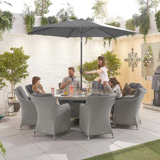 Camilla 8 Seat Dining Set - 1.8m Round Table - White Wash