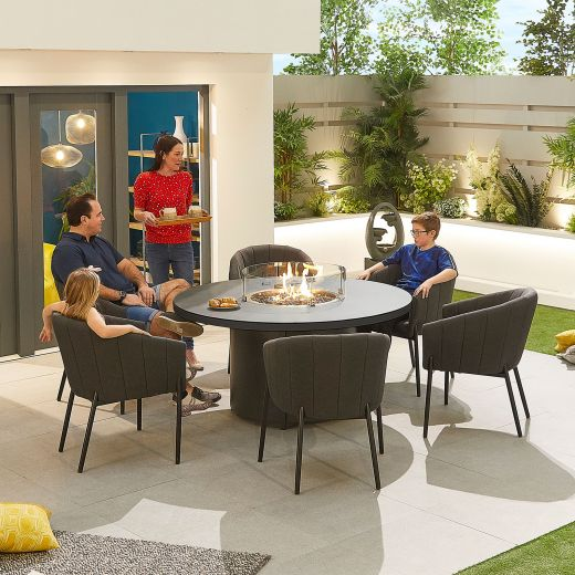 Edge Outdoor Fabric 6 Seat Round Dining Set with Firepit - Dark Grey