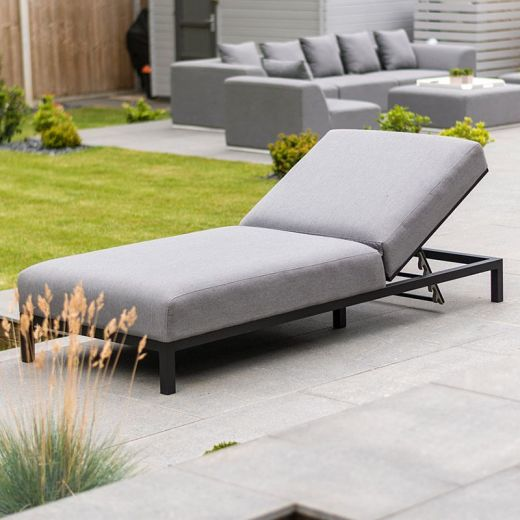 Sunny Outdoor Fabric Sun Lounger - Light Grey