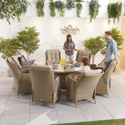 Carolina 8 Seat Dining Set - 1.8m Round Table - Willow
