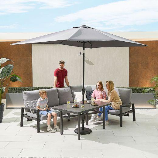 Enna Right Hand Aluminium Reclining Casual Dining Corner Sofa Set with Parasol Hole - Grey Frame
