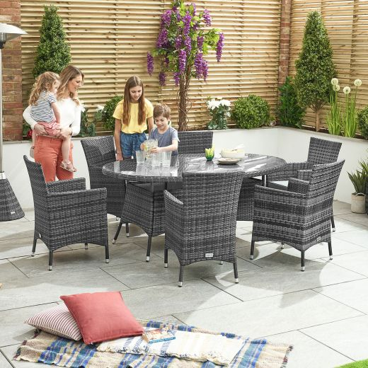 Amelia 6 Seat Dining Set - 1.8m x 1.2m Oval Table - Grey