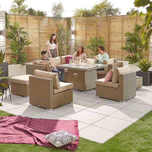 Chelsea 2C Rattan Corner Sofa Set with Firepit Table - Willow