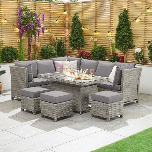 Ciara Left Hand Reclining Casual Dining Corner Sofa Set with Rising Firepit Table - White Wash