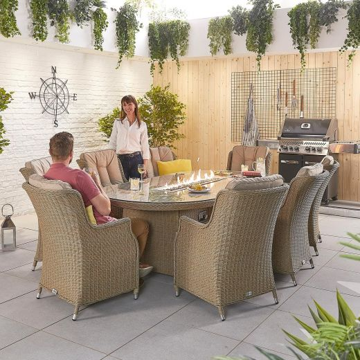 Thalia 8 Seat Dining Set - 2.3m x 1.2m Oval Firepit Table - Willow