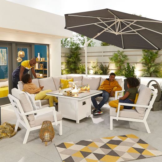 Compact Vogue Aluminium Casual Dining Corner Sofa Set with Firepit Table & Armchairs - White Frame