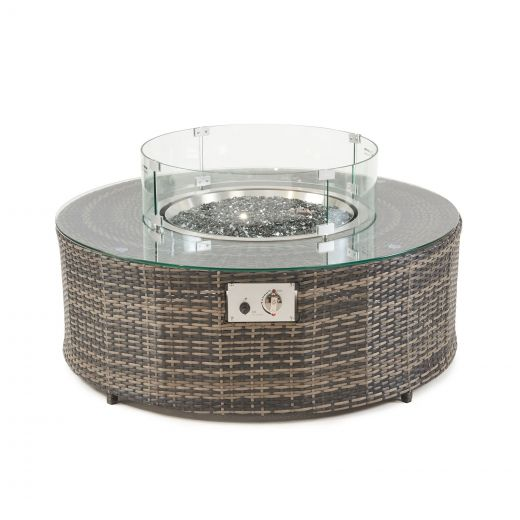 Kensington 1.1m Round Coffee Table with Gas Firepit - Brown