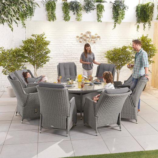 Carolina 8 Seat Dining Set - 1.8m Round Table - Slate Grey
