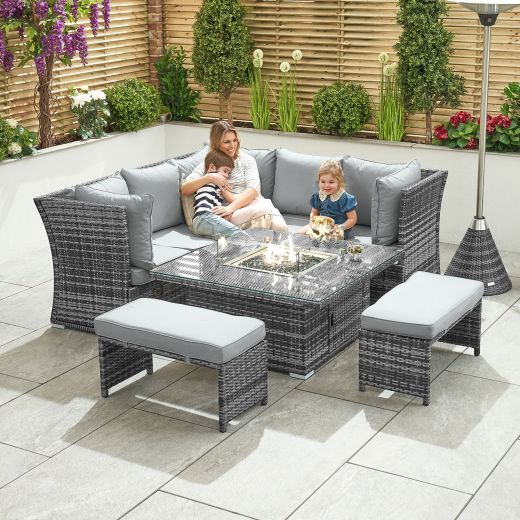 Compact Cambridge Reclining Casual Dining Corner Sofa Set with Rising Firepit Table - Grey