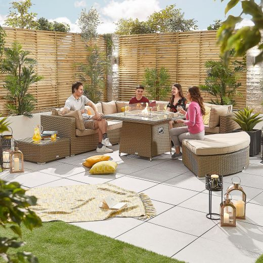 Deluxe Hampton 1C Corner Sofa Set with Gas Firepit Table - Willow