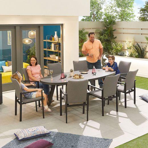 Hugo Outdoor Fabric 8 Seat Oval Dining Set - Light Grey