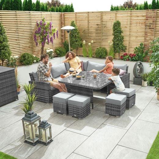 Deluxe Cambridge Casual Dining Corner Sofa Set with Parasol Hole - Grey