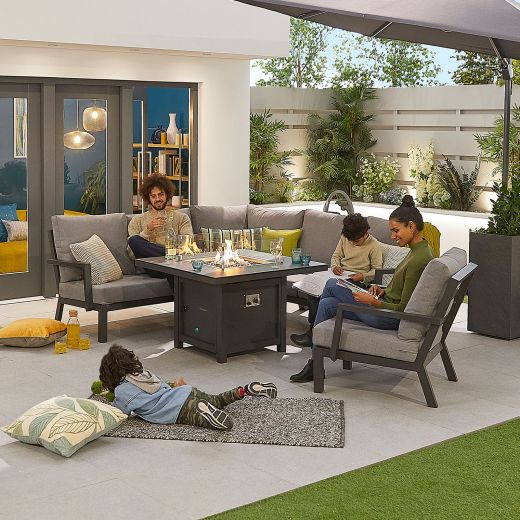Compact Vogue Aluminium Casual Dining Corner Sofa Set with Firepit Table & Armchair - Grey Frame