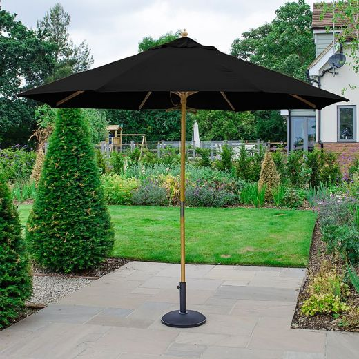 Dominica 3m Round Wooden Parasol - Pulley Operated - Black