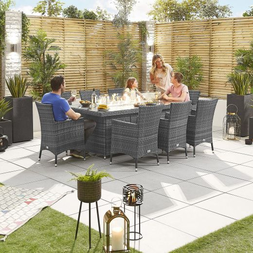 Amelia 8 Seat Dining Set - 2m x 1m Rectangular Firepit Table - Grey