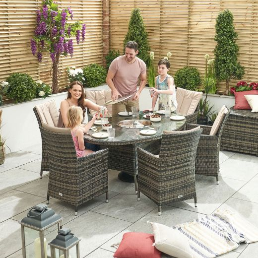 Sienna 6 Seat Rattan Dining Set with Ice Bucket - 1.8m x 1.2m Oval Table - Brown