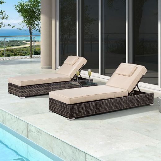 Rimini Sun Lounger Set - Brown