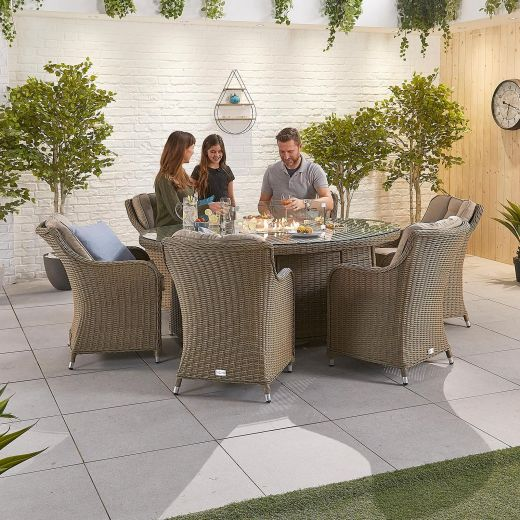 Camilla 6 Seat Dining Set - 1.8m x 1.2m Oval Firepit Table - Willow
