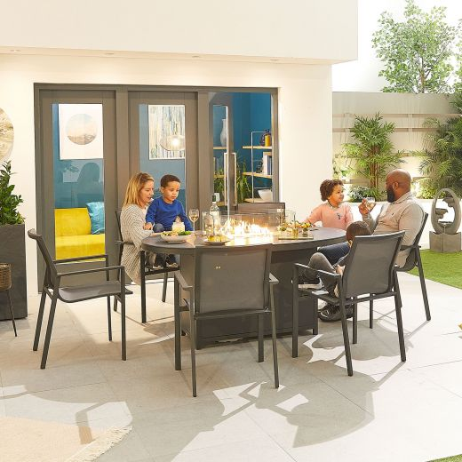 Milano 6 Seat Dining Set - 1.6m x 1m Oval Firepit Table - Grey Frame